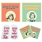 4 Absorbents Wine Coasters with Holder + 1 Funny Wine Socks, Ceramic Drinks Coasters for Wine Lovers, Wine Gift Sets for Women, Mom, Christmas Gift, Housewarming Gift for Wine Lovers
