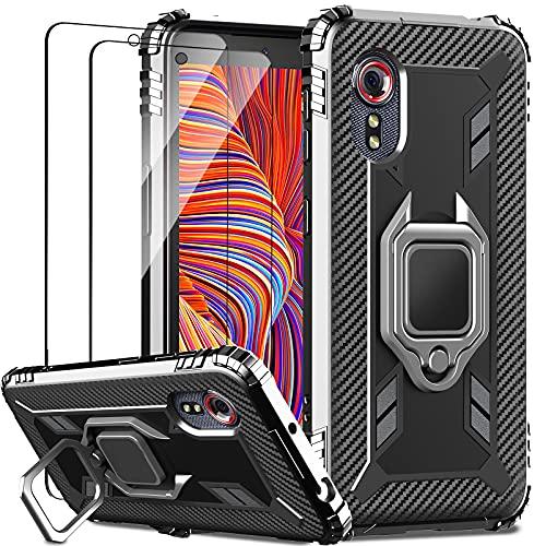IMBZBK Cover per Samsung Galaxy Xcover 5 Custodia + [2 pezzi] Vetro Temperato Samsung Galaxy Xcover 5 Pellicola Protettiva, [Cavalletto per anello di rotazione a 360 gradi] [Mil-Grade protection]-Nero