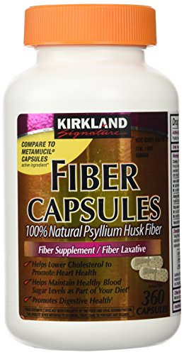 Fiber Capsules Kirkland Therapy for Regularity/Fiber Supplement, 360 capsules - Compare to the Active Ingredient in Metamucil Capsules
