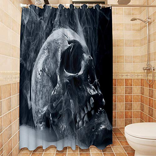 XIAOBAOZIYS Duschvorhang,wasserdichte Schimmel Nachweis Resistent Waschbar Bad Vorhang, Abstrakte Weißen Rauch Und Schädel, 3D-Duschvorhänge Mit 12 Haken Für Bad, 70 × 70 cm (180 × 180 cm).