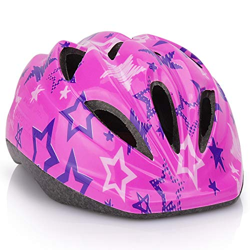 Kids Bicycle Helmets, LX LERMX Kid Bike Helmet Ages 5-14 Adjustable from Toddler to Youth Size, Durable Kids Bike Helmet with Fun Designs for Boys and Girls (Pink)