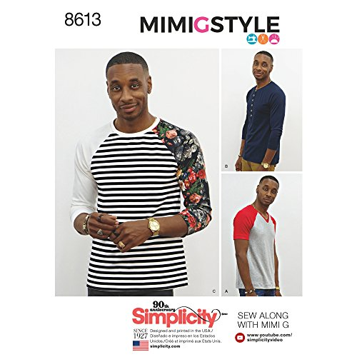 Simplicity US8613A Men's Knit Long Short Sleeve Shirt Patterns by Mimi G Style, Sizes XS-M
