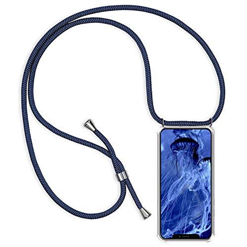 Alsoar Coque en Cordon Compatible pour iPhone 11 Pro Max 2019 (6.5 inch) Transparente Silicone Ultra Mince TPU Coussin d air Protection Housse avec Stylée Collier Necklace Lanyard Antichoc (Bleu)