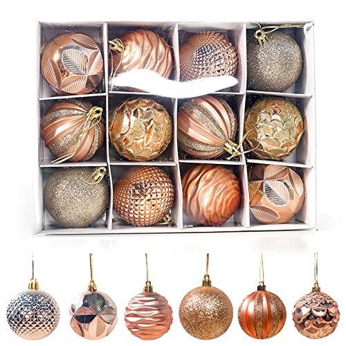 QWLHZW 6cm12 Piezas de Navidad Decoraciones for Navidad casera Colgante del árbol Ornamentos de la Bola de plástico Piedras de Bola de PVC (Color : Olive)