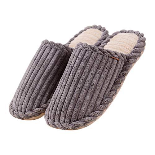 Chakil Winter Baumwolle Pantoffeln Schuhe aus Baumwolle Casual Hausschuhe Slipper Plüsch Wärme Weiche Hausschuhe Herren Damen Stricken Warme Baumwollhausschuhe Bogen Cord Baumwolle,Grau,43-44