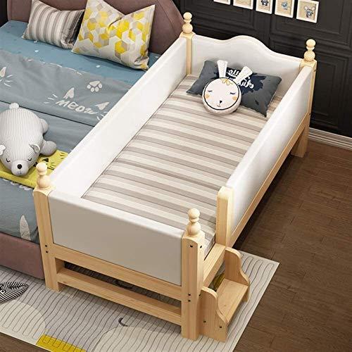 WJMLS 3-in-1 Cabrio Kinderbett, Massivholz-Baby-Bett, W/Side Soft Bag Leitschiene und Holzlattenrost, inklusive Matratze (Color : D, Size : 160 * 80 * 40CM)