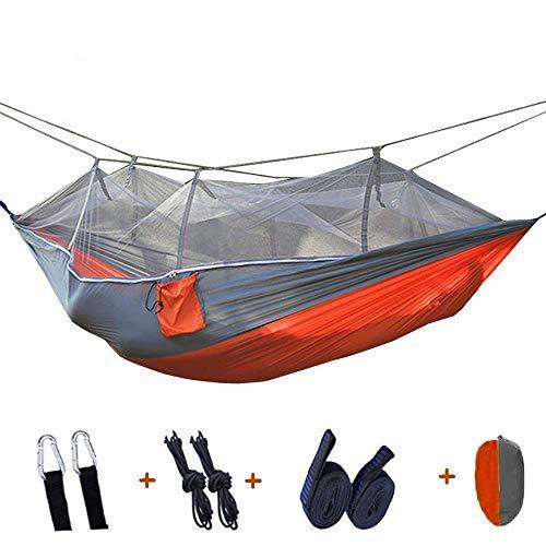 Camping hangmat Hangmat outdoor enkele dubbele schommel parachute klamboe draagbare nylon hangmat ondersteuning 300kg for reizen park (Color : Orange, Size : 260 * 140cm)