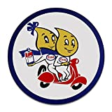 Brotherhood Vintage Esso Oil Garage Sign Metal Garage Sign Vintage Style Garage Signs Garage Decor Metal Tin Signs Round Reproduction Aluminum Sign with 2 American Flag Vinyl Decals