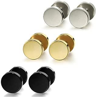 Jewelry Stainless Steel Mens Womens Stud Earrings Ear Plugs Tunnel 3 Pairs