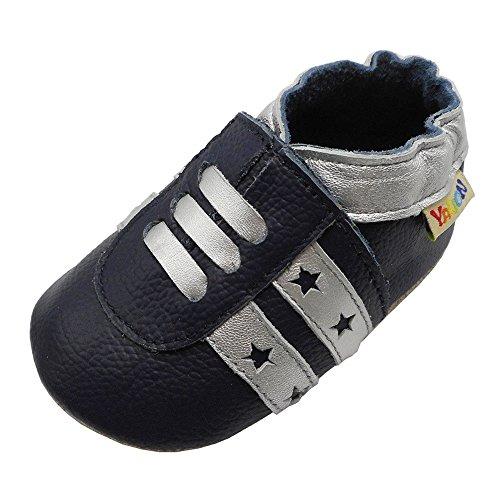 YALION Baby Kleinkind Turnschuhe Weicher Leder Lauflernschuhe Krabbelschuhe Marineblau 6-12 Monate Babyhausschuhe