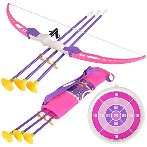 K9CK Arco y Flechas Infantil, Juguete Arco Set con 3 Flechas, 1 Soporte de Flecha y 1 Diana, Arco Flecha Plástico para Niños 3 Años
