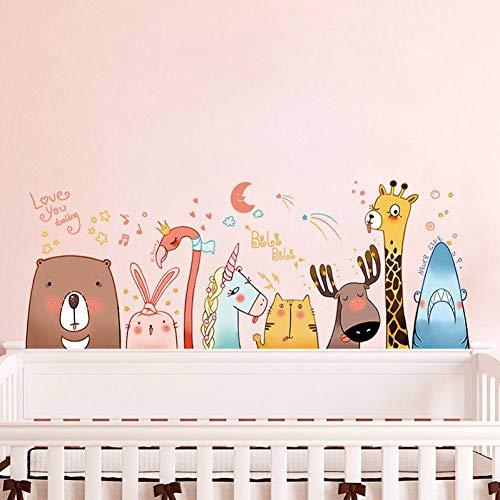 Preisvergleich Produktbild ZXFMT Wandaufkleber Umweltfreundliche Cartoon Tiere Wandaufkleber Für Kinderzimmer Schlafzimmer Sofa Hintergrund Wanddekorkunst Wandbilder Selbstklebende Aufkleber