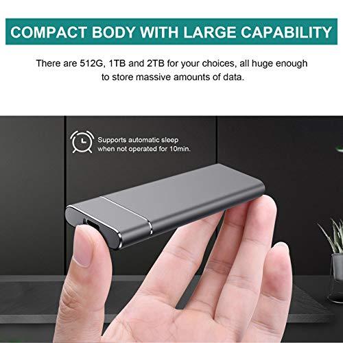 Prode Disco Duro Externo Portátil 2TB, Type C USB3.1 SATA HDD Almacenamiento para PC, Mac, Laptop, Chromebook, Xbox Slim (2tb, Plata) miniatura