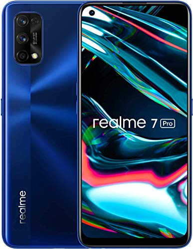 "Realme 7 Pro Mirror Blue, 8+128GB, 6.4"" AMOLED Full Screen Display, Quad Camera, 4500mAh Battery with 65W Dart Charge, Sim Free Smartphone, Dual Sim, UK Plug"