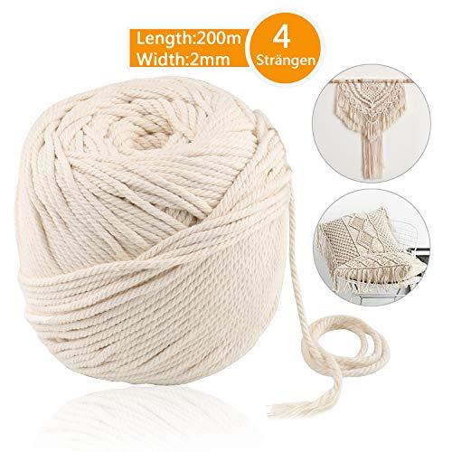 JTENG naturliches Baumwolle Garn,Baumwollgarn Basteln,baumwollkordel weiß,Kordel DIY Handwerk,makramee garn (200M-2mm)
