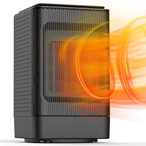 VIY Calefactor Eléctrico, Calefactor de Aire Caliente Cerámico, Calentador de Espacio Portátil, 3 Modos, Termostato Regulable, Protección Sobrecalentamiento, Sensor Antivuelco, 60° Oscilante, 950 W