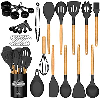 Umite Chef Kitchen Cooking Utensils Set, 24 pcs Non-stick Silicone Cooking Kitchen Utensils Spatula Set with Holder, Wooden Handle Heat Resistant Silicone Kitchen Gadgets Utensil Set
