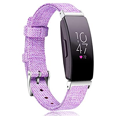 Maledan Replacement Bands Compatible with Inspire HR/Inspire/Inspire 2 Activity Tracker, Breathable Woven Fabric Accessories Strap Watch Band for Women Men, Small, Lavender