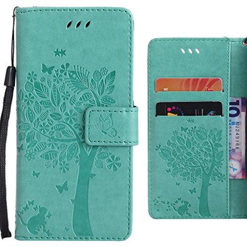 Ougger Handyhülle für Huawei Enjoy 5s (Huawei GR3) Hülle, Einzigartiger Baum Tasche Leder Schutzhülle Bumper Schale Weich Tasche Magnet Silikon Beutel Flip Cover mit Kartenslot (Grün)