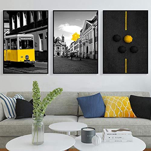 WADPJ zwart wit muurkunst Nordic poster afbeelding geel bus ballon paraplu canvas schilderij druk woonkamer wooncultuur 50x70cmx3 stuks geen lijst