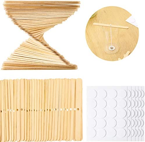 300 Pieces Candle Making Kit Include 100 Wooden Candle Wick Holders and 200 Double Sided Heat product image