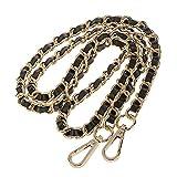 CAREOR – Bandoulière de rechange réglable en cuir avec crochets pivotants en métal pour sac à bandoulière, sacoche, sac à main, largeur 2 cm Chain Gold