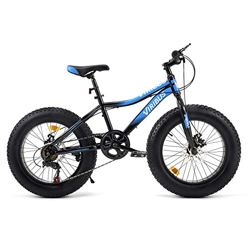 Viribus 20 Inch 7 Speed Bicycle for Kids Aged 6-10 | Kids Mountain Bike w Fat Tires Steel Frame Dual Disc Brakes Adjustable Seat for Dirt Sand Snow More | Sturdy Knobby Tire Bike for Boys Girls, Blue