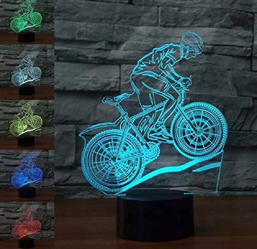 Bicicleta de montaña montar 7-colores 3D luces de noche LED táctil USB decoración regalo lámpara de mesa