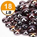 CFKJ [18 Pound] Fire Glass Beads Fireglass Drops for Gas Fire Pit Fireplace Aquarium Fish Tank Decoration Amber Luster Reflective Decorative Glass Gems Rocks Pebbles Stone for Vase Fillers (18.3)