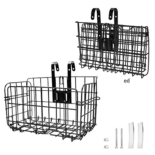 Arltb Lift Off Folding Bike Basket Rust Proof Easy Installation on Front Handlebar & Rear Seat Capacity 44lbs Suitable for Folding Bikes and Some Mountain Bikes - Black/Silver