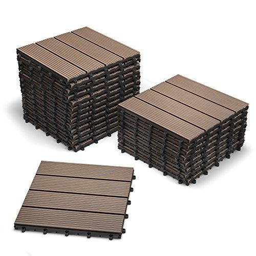 SAM Terrassenfliesen WPC Kunststoff, 22er Spar Set für 2m², Farbe schoko, Bodenbelag mit Drainage, Garten Klick-Fliesen