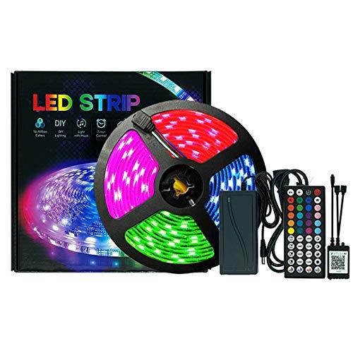 Tiras LED 5M,LED 5050RGB Luces de Tiras Regulables Control APP, Lucescon Control Remoto y Caja de Control,Sincronizar con música, Luces LED para Habitacion Hogar Bar Fiesta Restaurante y Coche