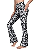G4Free Womens Soft Workout Bootcut Yoga Pants with Pockets Floral Wide Leg Dress Pants Casual Work (White Camo,XL)