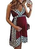 Tomwell Vestidos para Premamá Sin Mangas Falda De Tirantes Cuello En V Irregular Falda Costuras Vestidos Embarazadas con Borde De Cinturón Mini Vestido Vino Tinto 44