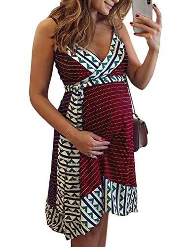 Tomwell Vestidos para Premamá Sin Mangas Falda De Tirantes Cuello En V Irregular Falda Costuras Vestidos Embarazadas con Borde De Cinturón Mini Vestido