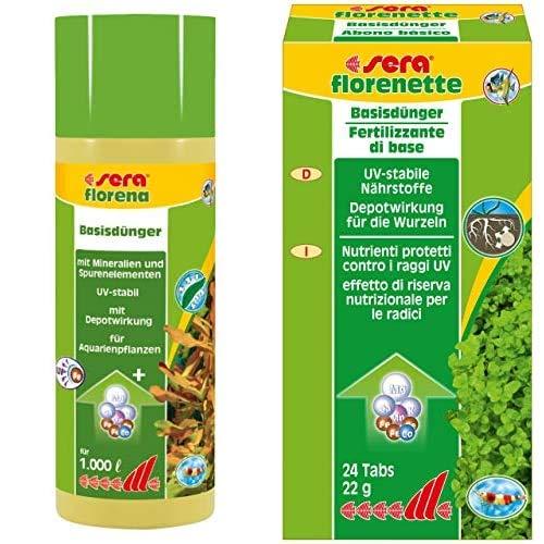 sera Bundle Wasserpflanzen Dünger Set bestehend aus florena 250ml & florenette 24 Tabl., den beiden Basisdüngern für alle Aquarienpflanzen, wie Echinodorus, Cryptocoryne & Stengelpflanzen im Aquarium
