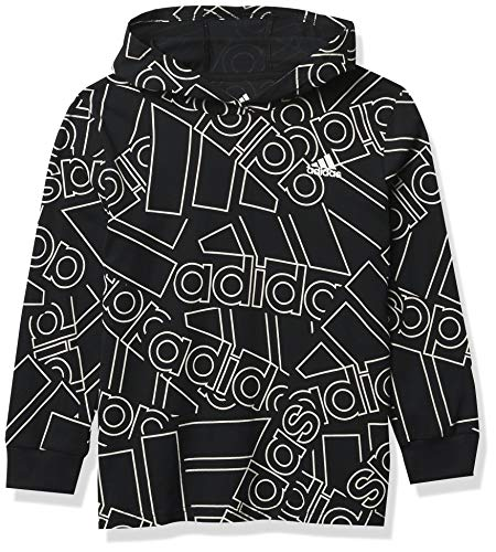 adidas Boys' Long Sleeve Cotton Jersey Hooded T-Shirt Tee, BoS Outline Black, Small