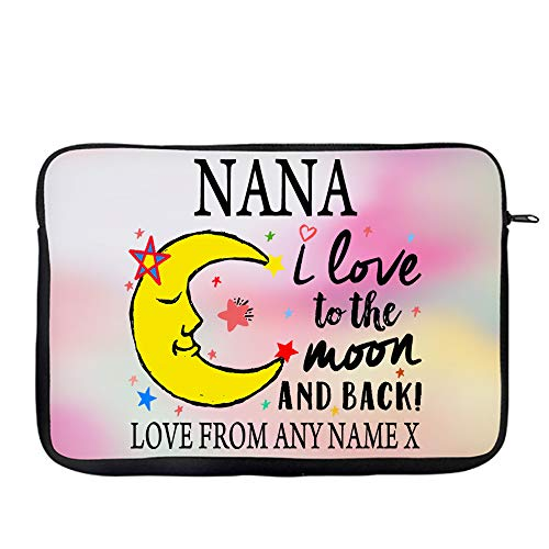 Personalised Mother's Day NANA I Love You To The Moon And Back Valentine Day Secret Santa Birthday Present Travel Bag Laptop Sleeve Unique Laptop Accessories. (14')