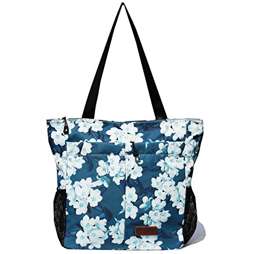 Original Floral Water Resistant Tote Bag Large Shoulder Bag with Multi Pockets for Gym Hiking Picnic Travel Beach Daily Bags (Navy white flower)