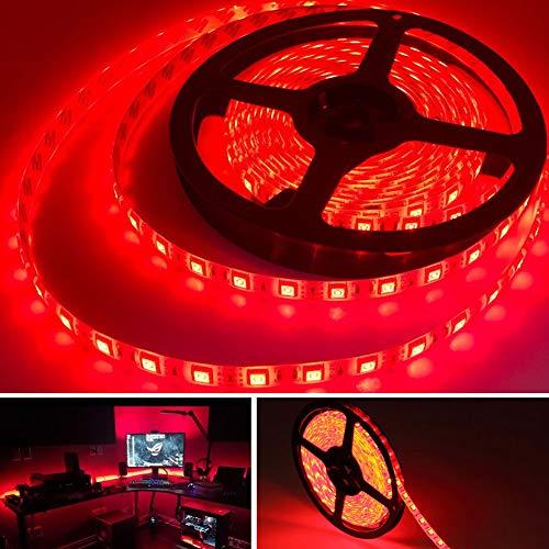 Bkinsety Tiras LED 5M 300LEDs 5050 Tira LED Flexibles Impermeable para Decoración de Fiestas de Cocina de Sala(Rojo)