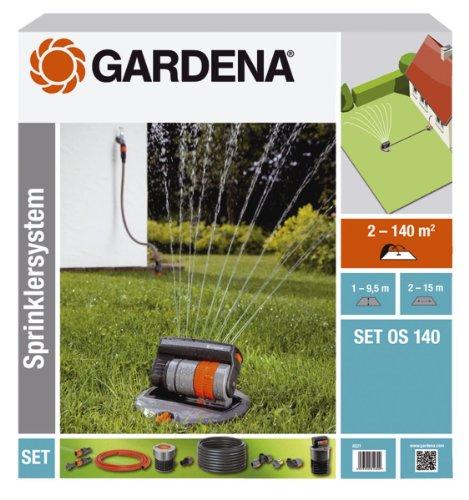 Kit Arroseur Oscillant Escamotable Os 140 de Gardena : Système d'Arrosage pour Surfaces Carrées et Rectangulaires jusqu'à 140 M², Installé au Niveau du Sol (8221-20)