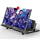 3D Screen Magnifier Amplifier, HD Amplifier Projector for Movies, Videos and Games. Foldable Phone Stand with Screen Amplifier for All Smartphones (Black)