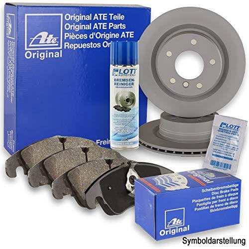 Original ATE Bremsscheiben vorne + ATE Bremsbeläge Bremsklötze Bremsenset Bremsenkit Komplettset Vorderachse + Bremsenreiniger