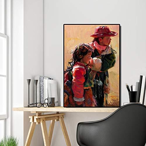 KWzEQ Pintura al óleo Moderna Lienzo Mural Arte Cartel Chino Tibetano Sala de Estar de los niños decoración del hogar Pintura,Pintura sin Marco,45x67cm