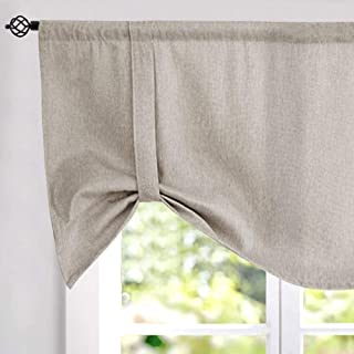 Tie-up Valances for Windows Linen Textured Room Darkening Adjustable Tie Up Shade Window Curtain Rod Pocket Tie-up Valance Curtains 20 Inches Long (1 Panel, Greyish Beige)