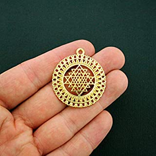 Extensive Collection of Charm 2 Sri Yantra Meditation Pendant Charms Antique Gold Tone Sri Chakra - GC898 Express Yourself