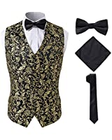 SuiSional Gold Mens Vest with Tie Set for Groom or Groomsman,Gold,2XL