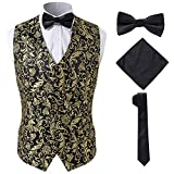 SuiSional Mens Gold Vest for Youth and Teenagers with Necktie Handkerchief Bow Tie,Gold,S