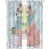 jinguizi Cortina de ventana opaca Animal Cute Hipster Fox Gafas W42 x L72 para decoración de niños Cortinas personalizadas