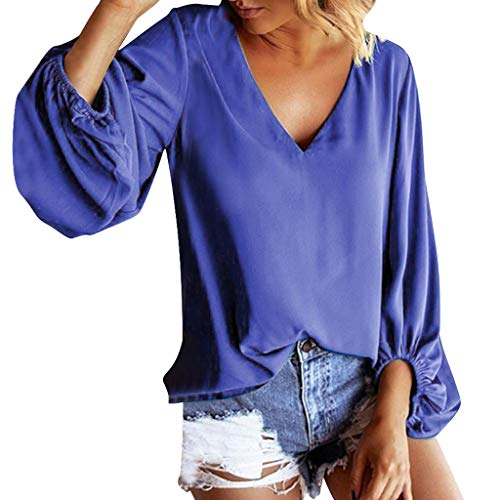 GOKOMO Mode Frauen Solide V-Ausschnitt Laterne Ärmel Lose Beiläufige Pullover Top Bluse V-Ausschnitt Laterne Ärmel einfarbig lose Top(Blau,Small)